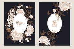 Carte de voeux de vintage avec le papillon et les fleurs réglés illustration de vecteur