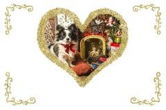Carte de voeux de vintage de chien de Noël Photos libres de droits