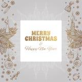 Carte de voeux de vintage de Joyeux Noël et de bonne année Images libres de droits