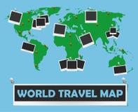 Carte de voyage du monde avec des cadres et des goupilles de photo Conception de l'avant-projet de voyage Photos libres de droits