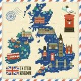 Carte de voyage du Royaume-Uni Photo stock