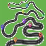 Carte de voyage par la route avec les marqueurs colorés illustration libre de droits