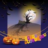 Carte de Vwctor avec les potirons, la lune et les mots Halloween heureux illustration de vecteur