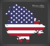 Carte de Winston-Salem North Carolina City avec l'illustration américaine de drapeau national illustration stock