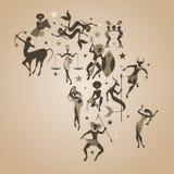Carte de zodiaque de l'Afrique Signes du style africain ou tribal de zodiaque Images libres de droits