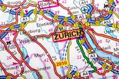 Carte de Zurich Images libres de droits