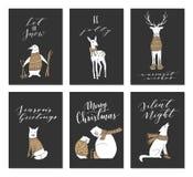 Carte degli animali di Natale Fotografia Stock
