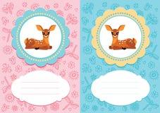 Carte del bambino con i cervi del bambino Fotografie Stock Libere da Diritti
