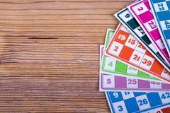 Carte del gioco di bingo o del lotto Immagine Stock
