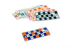 Carte del gioco di bingo o del lotto Fotografia Stock