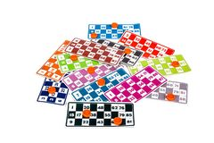 Carte del gioco di bingo o del lotto Fotografia Stock Libera da Diritti
