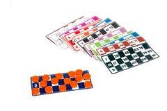 Carte del gioco di bingo o del lotto Fotografie Stock