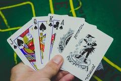 carte del gioco usate per giocare immagini stock