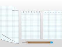 Carte del libro di esercizi con la matita Fotografia Stock