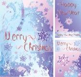 Carte del nuovo anno con il modello astratto di inverno illustrazione vettoriale