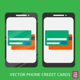 Carte del portafoglio del telefono Fotografie Stock