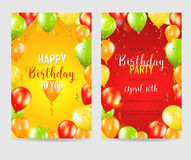 Carte dell'invito del pallone del partito e di buon compleanno Fotografia Stock