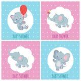 Carte dell'invito della doccia di bambino con l'insieme sveglio di vettore degli elefanti del fumetto illustrazione di stock