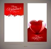 Carte dell'invito di giorno di biglietti di S. Valentino con i cuori illustrazione di stock