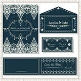 Carte dell'invito di nozze, etichetta e busta, elegante stabilito di nozze Fotografia Stock Libera da Diritti