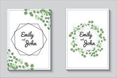 Carte della pianta, insieme dell'invito di nozze di eucalypthus illustrazione di stock