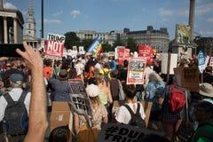 Carte della tenuta dei dimostranti contro la visita BRITANNICA del ` s di Trump immagine stock