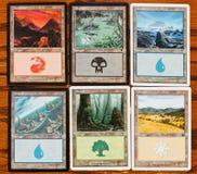 Carte delle terre e di colori di magia del gioco la riunione Immagine Stock