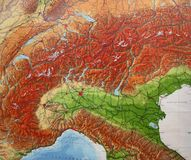 Carte des alpes Images libres de droits