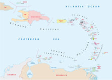 Carte des Antilles Photos stock