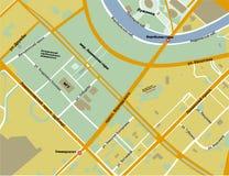 Carte des collines de moineau dans la couleur de jaune de Moscou Images stock