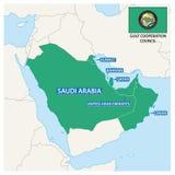 Carte des Etats membres du Conseil de Coopération du Golfe avec le drapeau illustration libre de droits