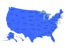 Carte des Etats-Unis Image libre de droits
