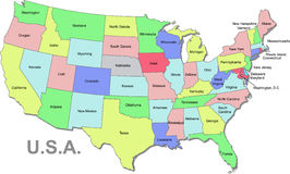 Carte des Etats-Unis Photos stock