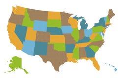 Carte des Etats-Unis Images libres de droits