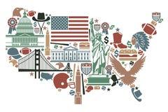 Carte des Etats-Unis Photographie stock