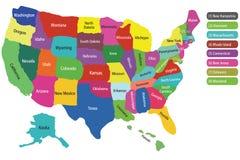 Carte des Etats-Unis avec des états Images libres de droits