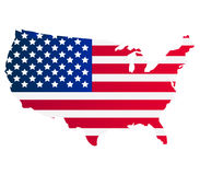 Carte des Etats-Unis avec le drapeau Images libres de droits