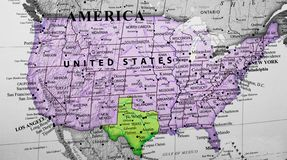 Carte des Etats-Unis d'Amérique accentuant le Texas photo stock