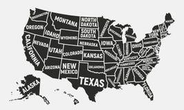 Carte des Etats-Unis d'Amérique Carte d'affiche des Etats-Unis avec des noms d'état Fond américain Illustration de vecteur illustration stock