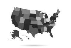 Carte des Etats-Unis divisée sur des régions Images libres de droits