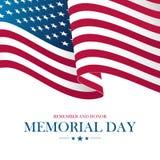 Carte des Etats-Unis Memorial Day avec onduler le drapeau national des Etats-Unis illustration de vecteur