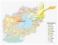 Carte des ethnies en Afghanistan Images stock