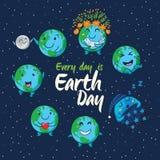 Carte des globes mignons de bande dessinée avec différentes émotions Photographie stock