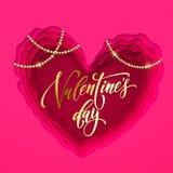 Carte des textes de salutation de jour de valentines design de carte moderne de vecteur de papercut et de coeur d'or de Valentine illustration stock