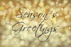 Carte des textes des salutations de la saison avec le fond de bokeh images stock