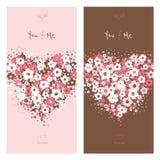 Carte di amore con il cuore del fiore Fotografia Stock