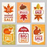 Carte di autunno Istrice, volpe, scoiattolo e foglie di autunno con l'ombrello da pioggia Simboli di autunno di vettore delle car royalty illustrazione gratis