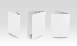 Carte di carta stanti dello spazio in bianco realistico di vettore Fotografia Stock