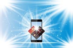 Carte di credito della plastica e dello Smart Phone Facciata frontale della carta con la mappa di mondo digitale Illustrazione EN Immagine Stock