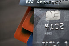 Carte di credito di pagamento della Banca con valuta dei usd Fotografia Stock Libera da Diritti